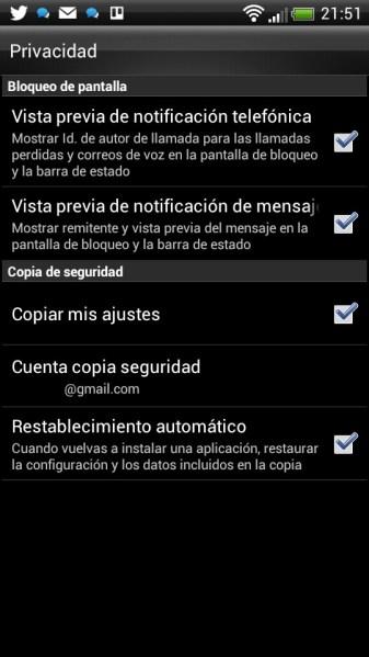 Ajustes Android - copias de seguridad en Android
