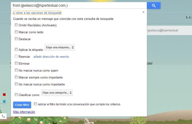 Filtros de mensajes en Gmail