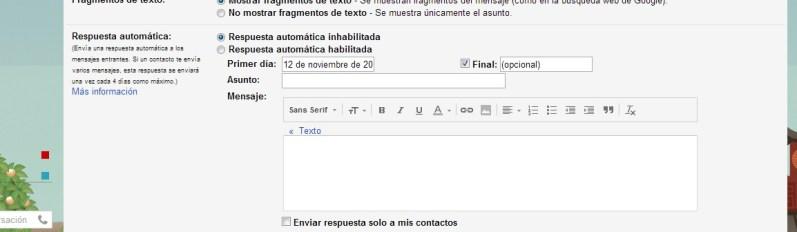 Respuesta automática en Gmail