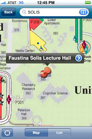 iPhone mapa de la universidad