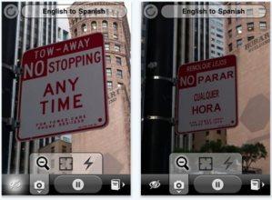 La aplicación Word Lens para iPhone traduce directamente el texto capturado por la cámara
