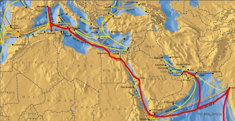Algunos de los Cables submarinos del Mediterráneo y Oriente Medio - Avería en cable submarino