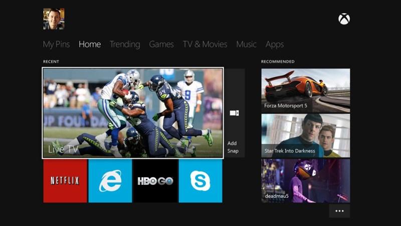 Interfaz de Xbox One como centro de entretenimiento