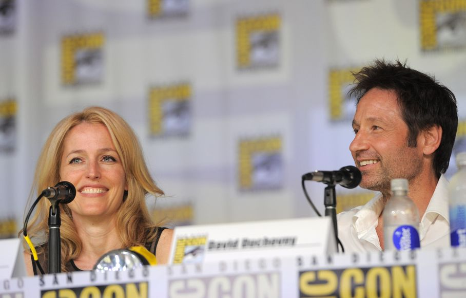Gillian Anderson y David Duchovny en el 20 aniversario de The X Files