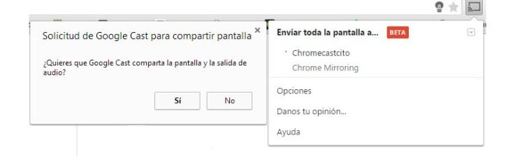compartir la pantalla chromecast