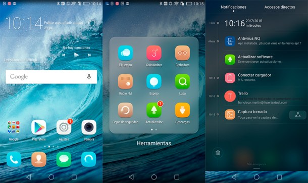 Interfaz del Huawei P8 con Android 5.0