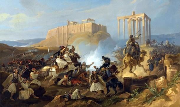 Escena de batalla  de la Guerra de Independencia de Grecia, obra de Georg Perlberg. Fuente: Aristotleguide