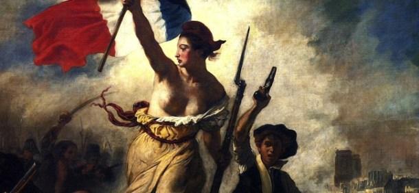Detalle del cuadro La Libertad guiando al pueblo, en el que aparece La Marianne. Foto: Escuelapedia