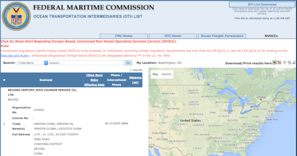 Licencia de operaciones marítimas en EEUU para Amazon China, <a href=