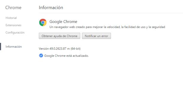 informacion de google chrome