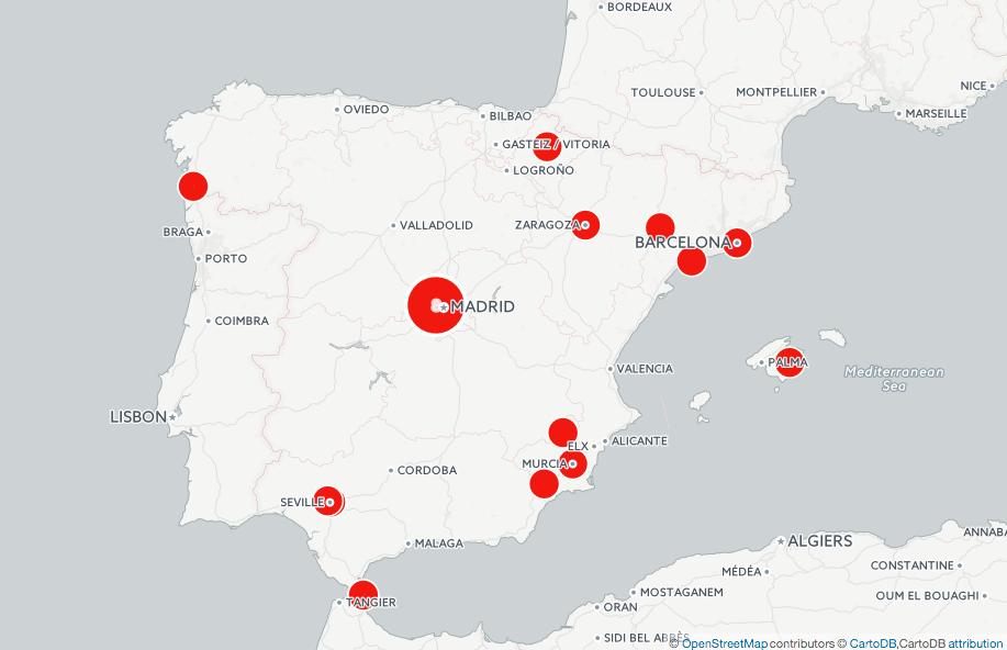 Distribución geográfica de las 34 sedes que tiene Familia Unida en España.