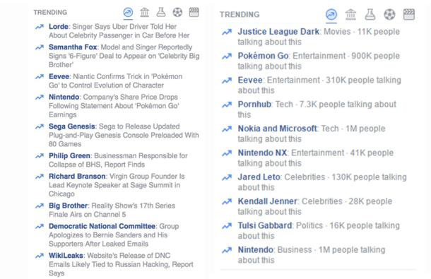 Trending Topics de Facebook Antes y Después. Imagen de Fast Company.