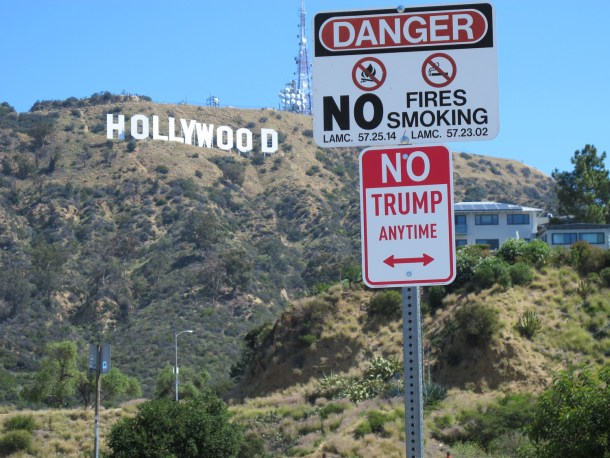 """ No Trump"" signs appear in cities across the USA."