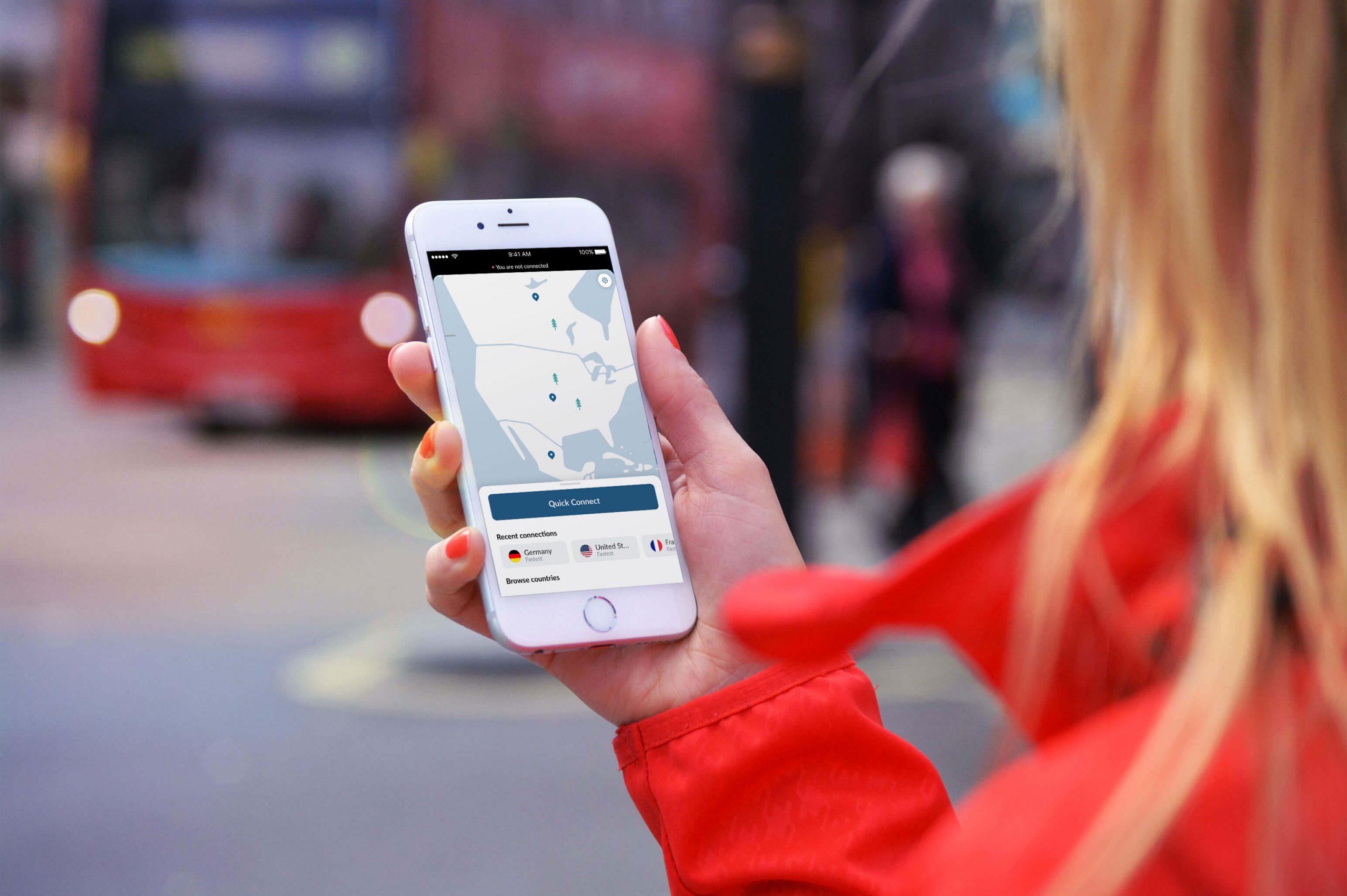 Aplicación de NordVPN en un iPhone